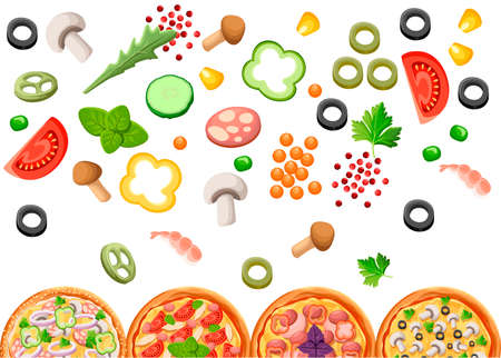 Group of pizza with ingredients. Flat style design. Concept for menu of pizzeria, cafe, restaurant. Vector illustration on white background.