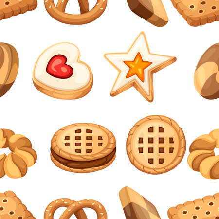 Seamless pattern. Cookie and biscuit icon collection. Colorful flat vector cookies set. Circle, star, sandwich, different shape. Vector illustration isolated on white background.