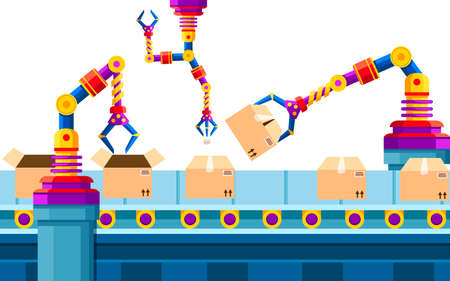 Industrial automation. Robotic arm technology at assembly line. Automated robot arms. Robotic conveyor belt for packaging of products in cardboard boxes. Vector illustration.