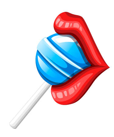 Sexy red lips with candy. Red female glossy lips and blue lollipop. Colored icon. Flat vector illustration isolated on white background. Illusztráció