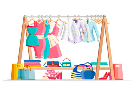 Wooden hanger rack with female clothes and handbags with shoes on floor. Casual garment. Everyday outfit sale concept. Flat style vector illustration isolated on white background.