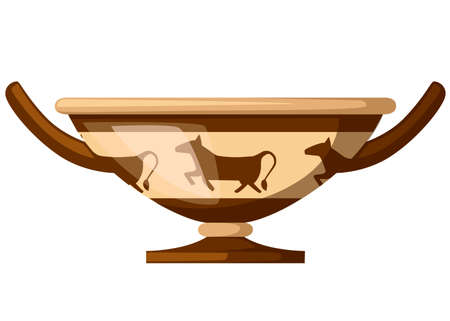 Ancient Greece kylix drinking cup. Ancient wine cup cylix with patterns. Greek pottery icon. Flat vector illustration isolated on white background. Illustration