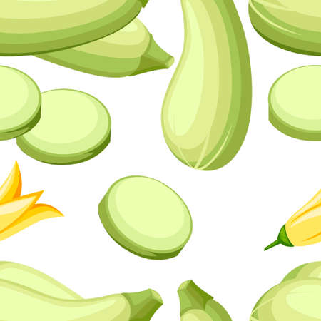 Seamless pattern. Squash whole. Fresh vegetable marrow . Oblong, green squash. Vegetable marrow courgette or zucchini. Harvest courgette organic ingredient. 向量圖像