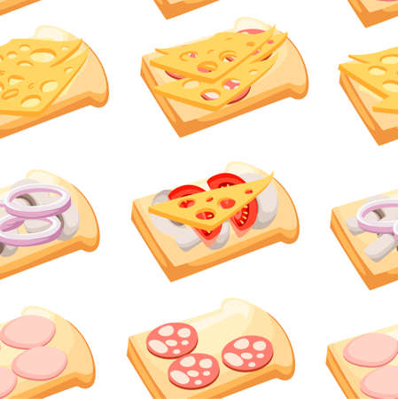 Seamless pattern. Sandwiches with various ingredients. Meat, vegetables, cheese. Cartoon flat style. Vector illustration on white background. Vector Illustration