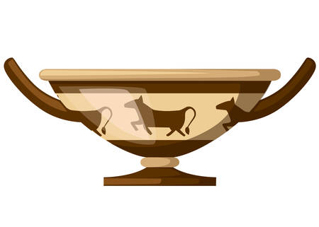 Ancient Greece kylix drinking cup. Ancient wine cup cylix with patterns.