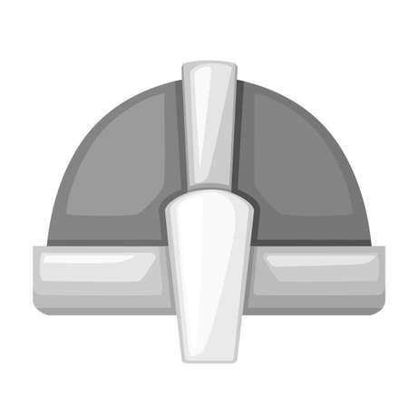 Norman culture. Medieval metal knight helmet. Silver colored armor. Warrior knight logo, emblem, symbol, sport mascot. Flat vector illustration isolated on white background. Illustration