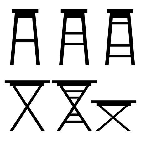 Black silhouette. Set of bar chairs. Wooden ocher collection. Retro bar or cafe stools. Flat vector illustration isolated on white background.