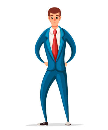Business man in blue formal wear. Cartoon character design. Flat vector illustration isolated on white background. Vector Illustration