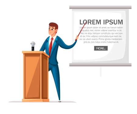 Man in suit stands at wooden tribune with microphone. Making a speech. Cartoon character design. Flat vector illustration isolated on white background. Stock Illustratie