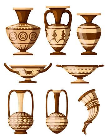 Collection d'icônes de poterie grecque. Amphore à motifs, rhyton, kylix.