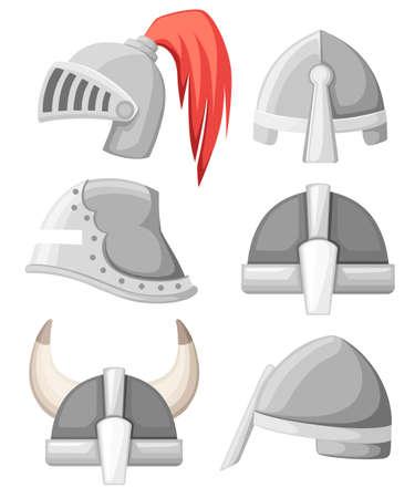 Collezione di elmi da cavaliere medievali in metallo. Armatura color argento. Guerriero, cavaliere, gotico, logo normanno, emblema, simbolo, mascotte sportiva. Illustrazione vettoriale piatto isolato su sfondo bianco.