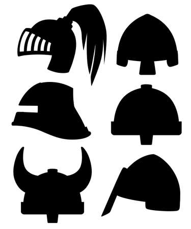 Black silhouette. Medieval metal knight helmet collection. Warrior, knight, gothic , norman logo, emblem, symbol, sport mascot. Flat vector illustration isolated on white background.