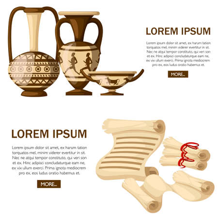 Greek pottery with ancient scrolls. Vecteurs