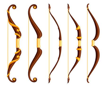 arco de la estrella del arco iris arcos de color marrón con adornos de oro Ilustración de vector