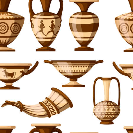 Seamless pattern. Greek pottery collection.