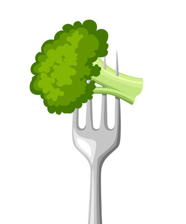 Food on fork. Fresh broccoli on stainless steel fork. Health food. Flat vector illustration isolated on white background.