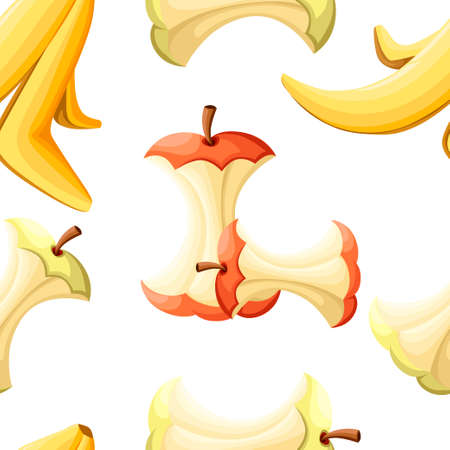 Seamless pattern. Organic garbage. Apple stub and banana peel. Cartoon design element for pollution environment and ecology. Flat vector illustration on white background. Foto de archivo - 108417204