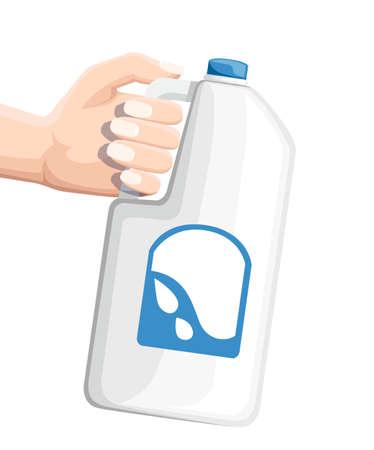 Hand met grote plastic fles met melk. Witte melkfles. Platte vectorillustratie geïsoleerd op witte achtergrond.
