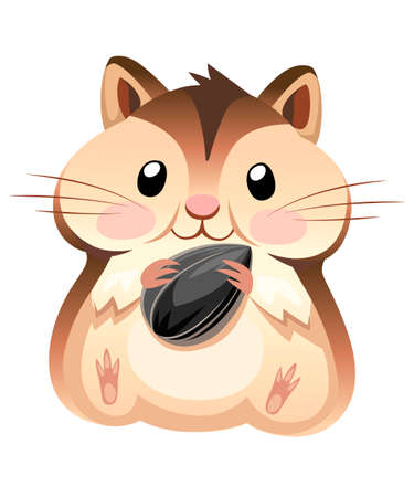 Cute hamster sit and holding a sunflower seed. Cartoon character design. Flat vector illustration isolated on white background.