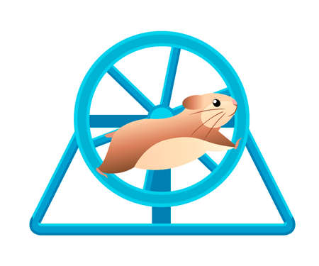 Leuke hamster die in rollend wiel loopt. Huis huisdier. Platte vectorillustratie geïsoleerd op witte achtergrond.