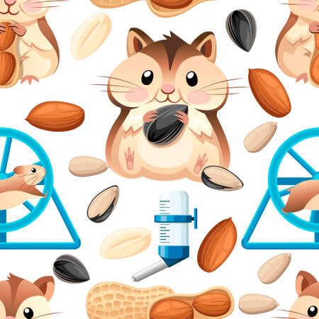 Seamless pattern. Cute hamster sit and holding a sunflower seed, and nut. Hamster cage, wheel and automatic drinker. Cartoon character design. Flat vector illustration on white background.