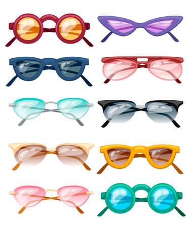 Set of colorful glasses. Collection of ten cartoon glasses with transparent colored glass. Polarized glasses. Flat vector illustration isolated on white background.
