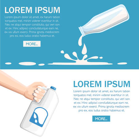Pour milk from plastic bottle. Hand hold milk bottle. Glass and plastic bottle. Web site page and mobile page design. Flat vector illustration on turquoise background. Illustration