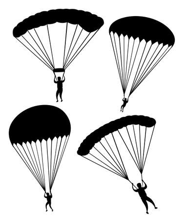 Black silhouette. Parachutist in flight. Set of skydivers. Flat vector illustration isolated on white background. Illustration