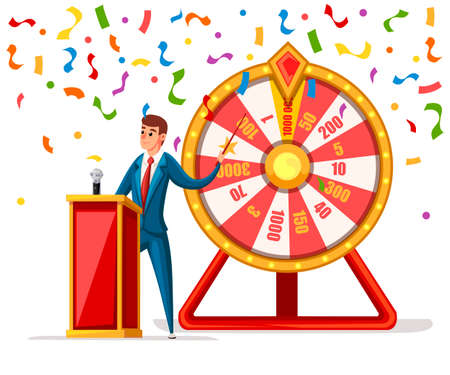 Wheel of fortune with men and confetti. Wheel game ,winner play luck flat style. Vector illustration isolated on white background. Çizim