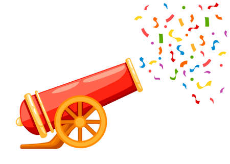 Ancient red cannon shots confetti. Circus cannon. Flat vector illustrator isolated on white background. Vettoriali