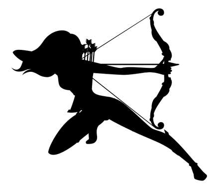 Black silhouette. Female archer. Wooden quiver. Medieval and fantasy weapon. Flat vector illustration isolated on white background.