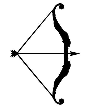 Silueta negra. Arma de arco con flechas. Arma medieval y de fantasía. Ilustración de vector plano aislado sobre fondo blanco.