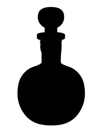 Black silhouette. Bottle with potion. Game icon of magic elixir. Health, poison, mana or magic potion flat icon elixir. Vector illustration isolated on white background.