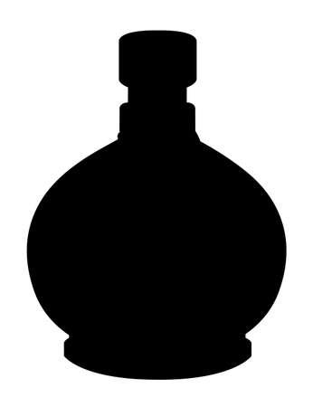 Black silhouette. Bottle with potion. Game icon of magic elixir. Health, poison, mana or magic potion flat icon elixir. Vector illustration isolated on white background.