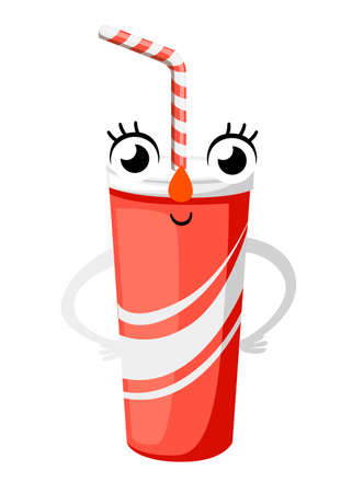Red paper cup mascot. Cartoon character design in flat style. Smiling cup. Vector illustration isolated on white background.