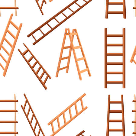 Seamless pattern. Collection of wooden ladders. Different types of stepladders. Flat vector illustration on white background.