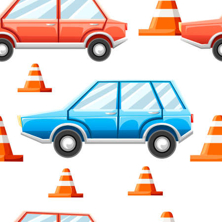 Seamless pattern. Road cones, blue and red car. Flat vector illustration on white background.