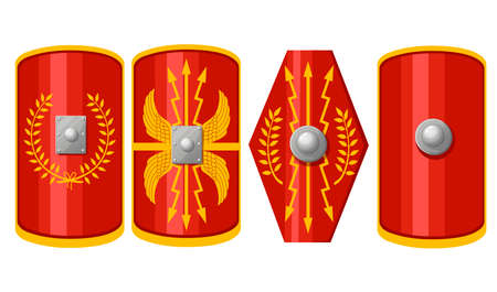Collection of shields. Shields of Roman Legionary. Red scutum with yellow decoration pattern. Outfit of the Ancient Legionary. Flat vector illustration isolated on white background.