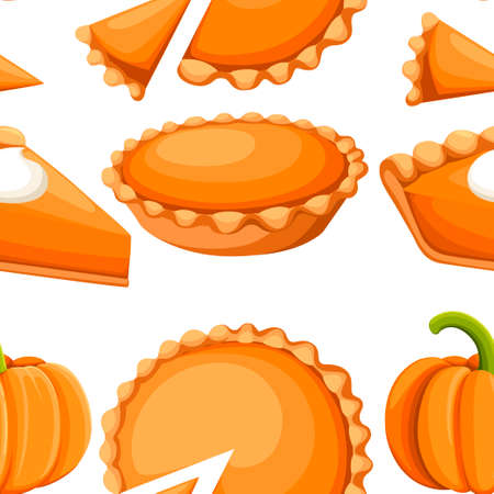 Seamless pattern. Pies Vector Illustration.Thanksgiving and Holiday Pumpkin Pie. Happy Thanksgiving Day traditional pumpkin pie with whipped cream on the top.