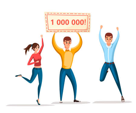 Lottery winner. Women and man stand with winner banner, 1000000. Happy people. Win million. Cartoon character design. Flat vector illustration isolated on white background,