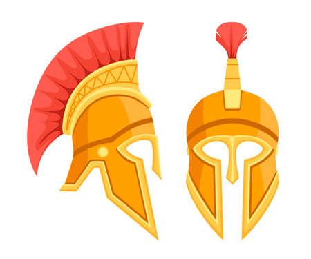 Bronze greek helmet. Spartan ancient armor. Red hair helmet. Flat vector illustration isolated on white background.