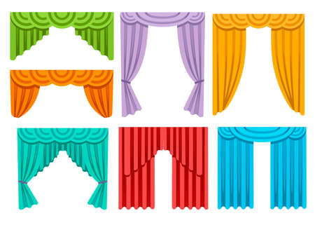 Collection of various colorful curtains. Luxury silk draperies interior decoration design. Flat vector illustration isolated on white background.