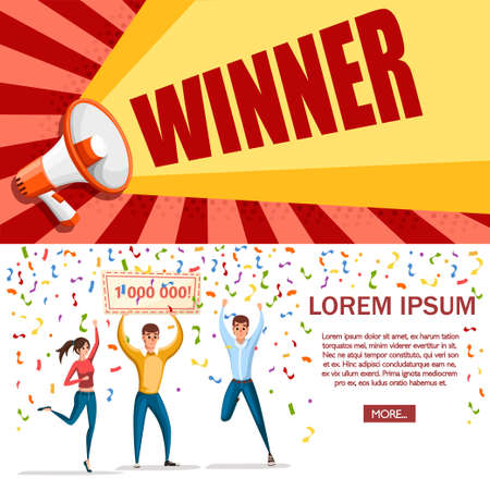 Lottery winner. Women and man stand with winner banner, 1000000. Happy people. Win million. Cartoon character design. Flat vector illustration on white background. Web site page and mobile app design. Stock fotó - 111677781