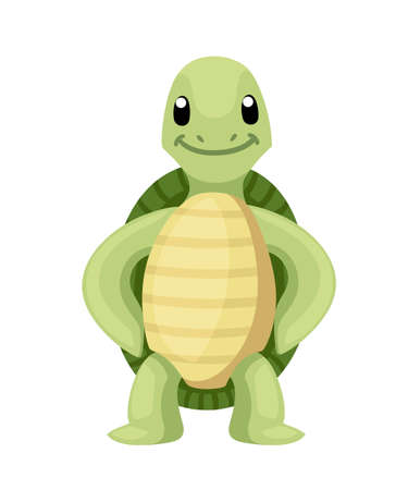 Happy cute turtle stand with smile. Cartoon character design. Flat vector illustration isolated on white background.