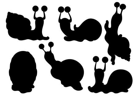 Black silhouette. Collection of different snails. Sea and forest snails. Clam cartoon character design. Flat vector illustration isolated on white background.