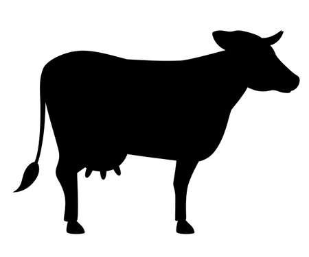 Black silhouette. Cute cow. Farm domestic animal. Flat style animal design. Vector illustration isolated on white background.  イラスト・ベクター素材