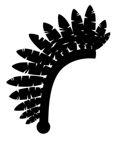Black silhouette. Indian headdress. Warbonnet icon. Headdress with feathers. Flat vector illustration isolated on white background.