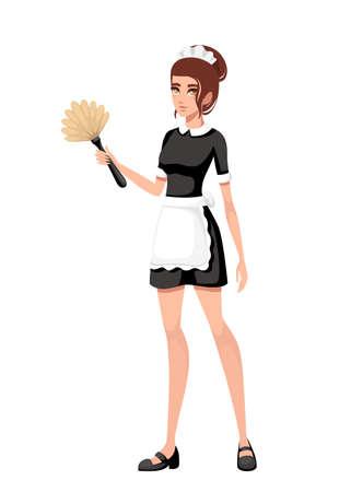 Hermosa criada sonriente en traje francés clásico. Diseño de personajes de dibujos animados. Mujeres con cabello castaño corto. Criada sosteniendo cepillo plumero. Ilustración de vector plano aislado sobre fondo blanco.
