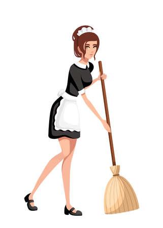 Hermosa criada sonriente en traje francés clásico. Diseño de personajes de dibujos animados. Mujeres con cabello castaño corto. Sirvienta con escoba. Ilustración de vector plano aislado sobre fondo blanco.