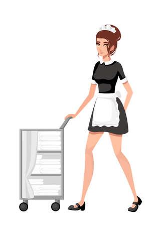 Belle femme de chambre souriante en tenue française classique. Conception de personnage de dessin animé. Les femmes aux cheveux courts bruns. Personnel de l'hôtel engagé dans l'exécution de tâches de service. Illustration vectorielle plane.